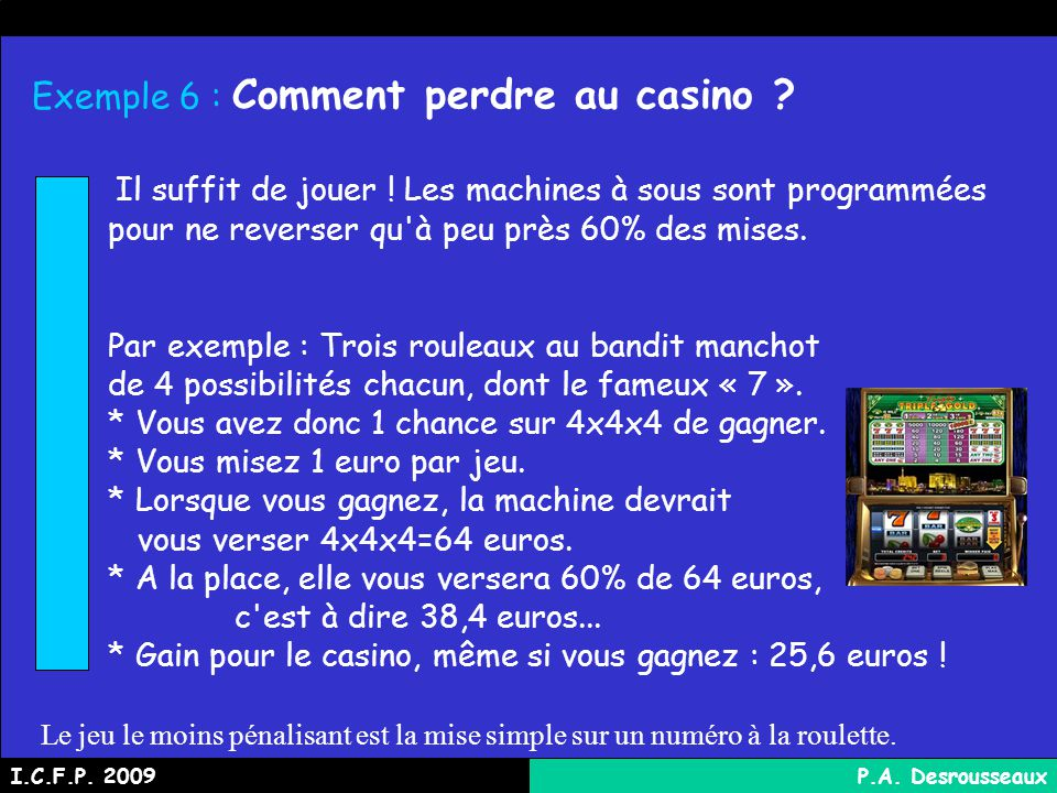 Exemple 6 : Comment perdre au casino