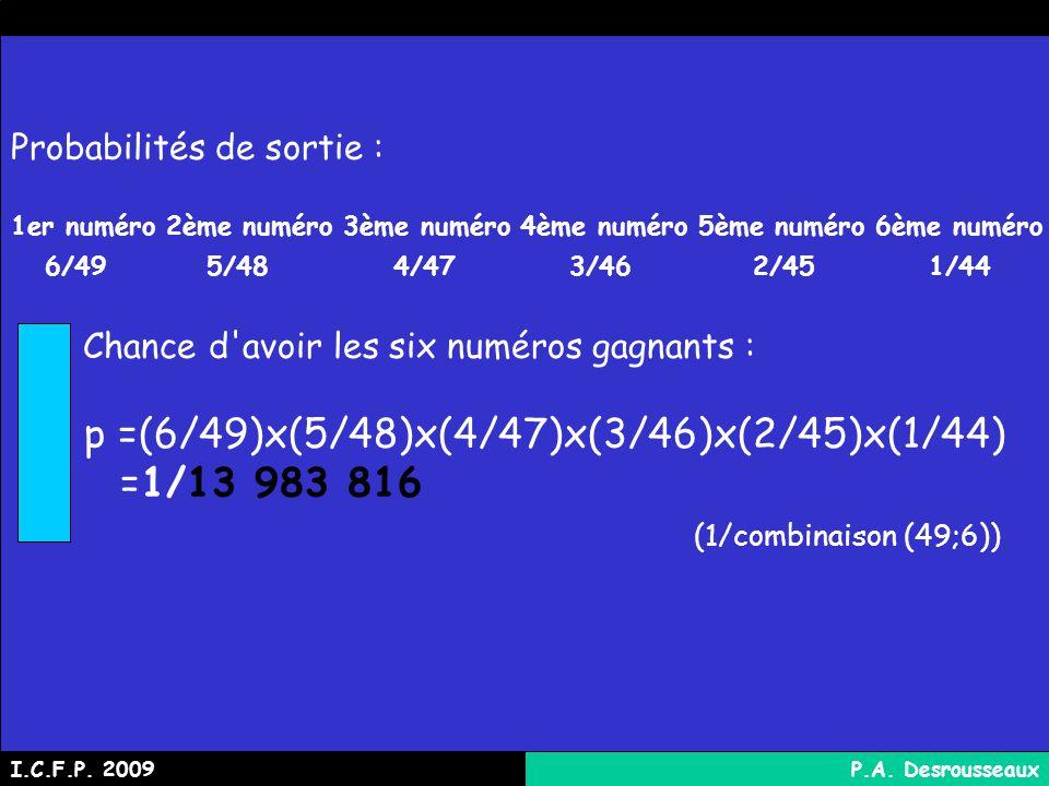 p =(6/49)x(5/48)x(4/47)x(3/46)x(2/45)x(1/44) =1/13 983 816