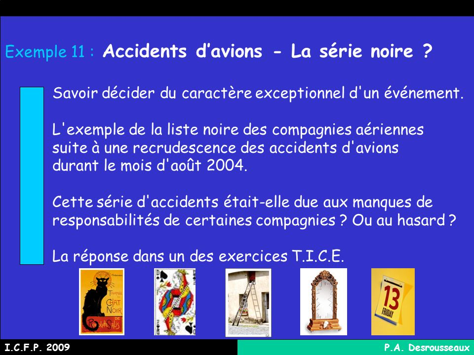 Exemple 11 : Accidents d'avions - La série noire