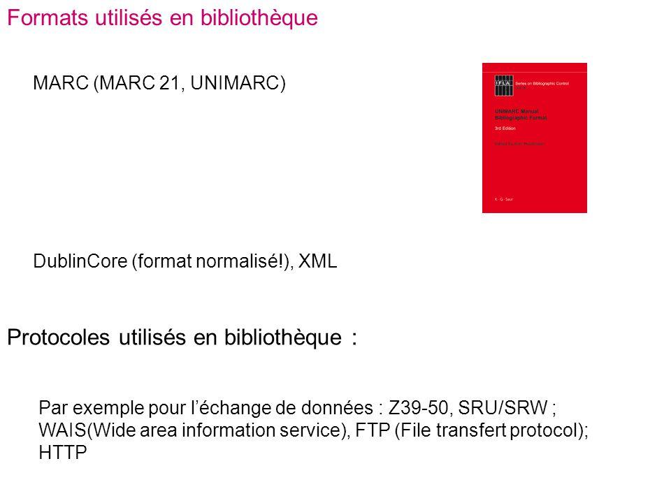Formats utilisés en bibliothèque