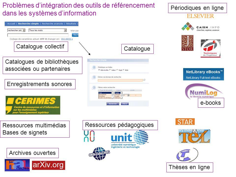 Problèmes d'intégration des outils de référencement dans les systèmes d'information