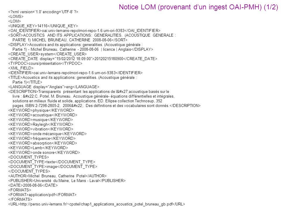 Notice LOM (provenant d'un ingest OAI-PMH) (1/2)