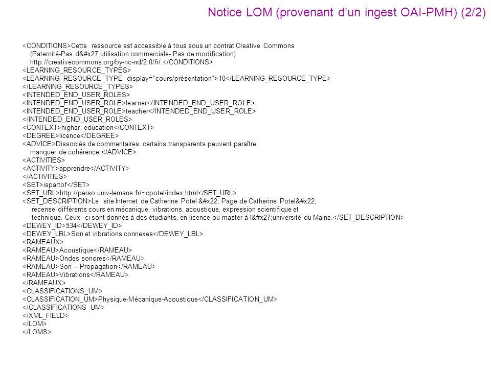 Notice LOM (provenant d'un ingest OAI-PMH) (2/2)