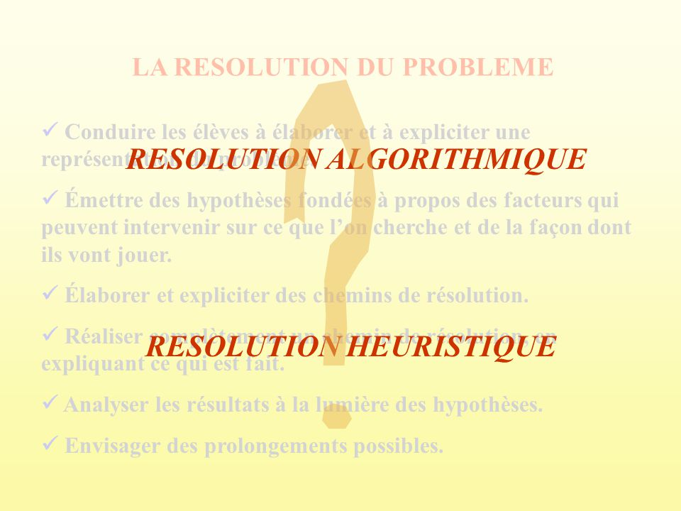 RESOLUTION ALGORITHMIQUE