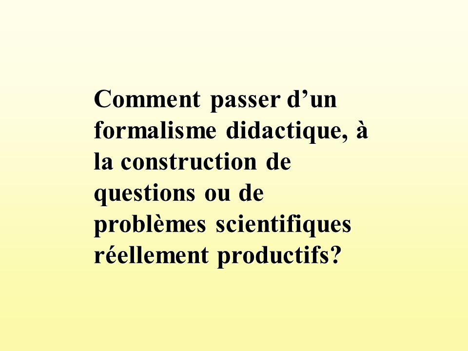 Comment passer d'un formalisme didactique, à la construction de questions ou de problèmes scientifiques réellement productifs