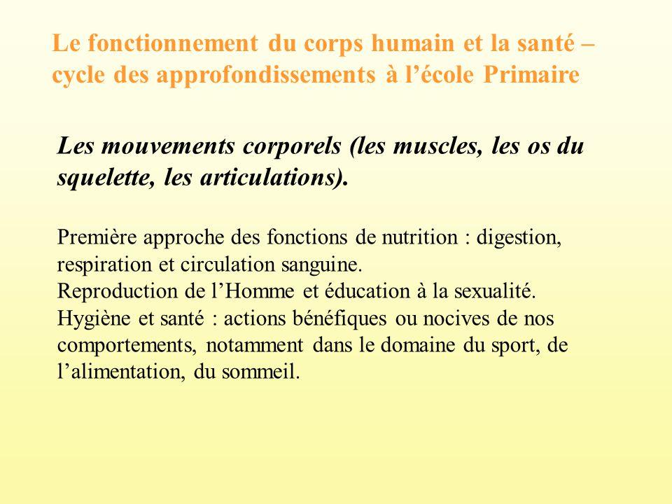 Le fonctionnement du corps humain et la santé – cycle des approfondissements à l'école Primaire
