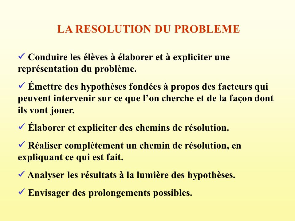 LA RESOLUTION DU PROBLEME