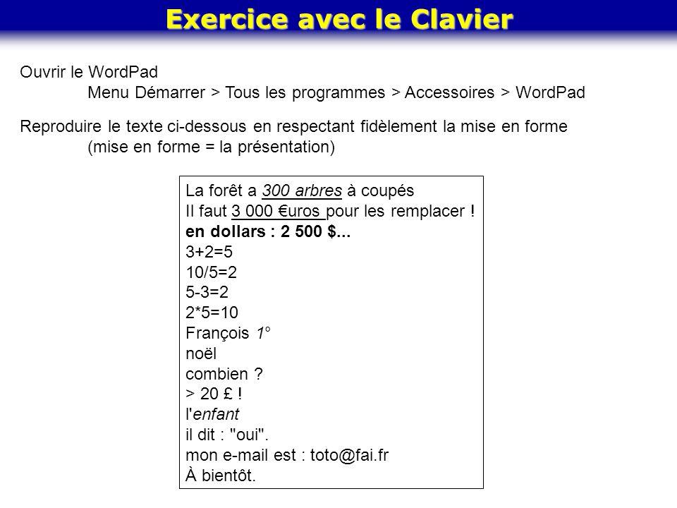 Exercice avec le Clavier