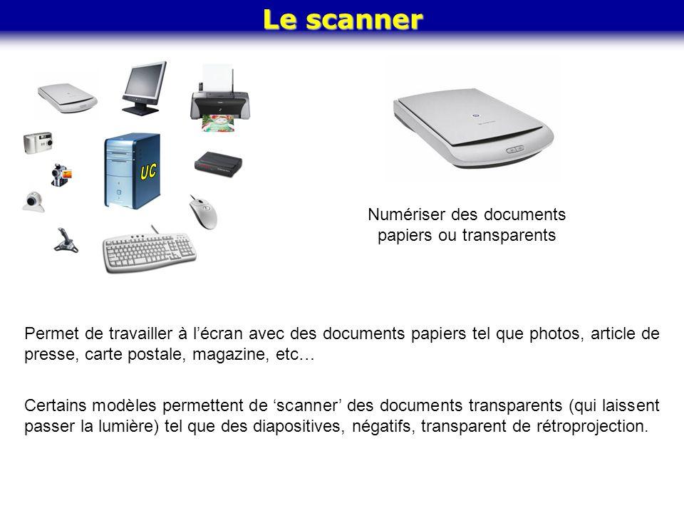 Numériser des documents papiers ou transparents