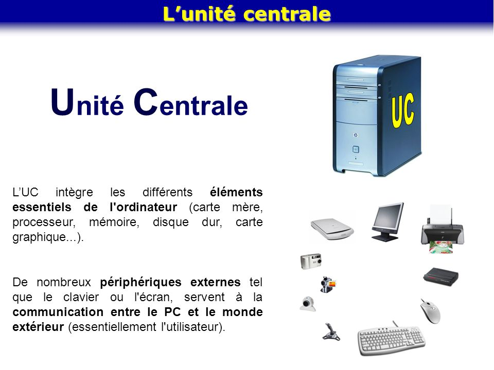 Unité Centrale UC L'unité centrale