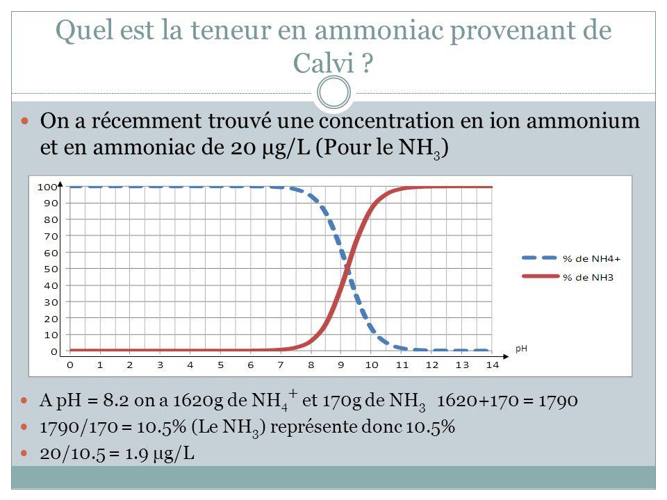 Quel est la teneur en ammoniac provenant de Calvi