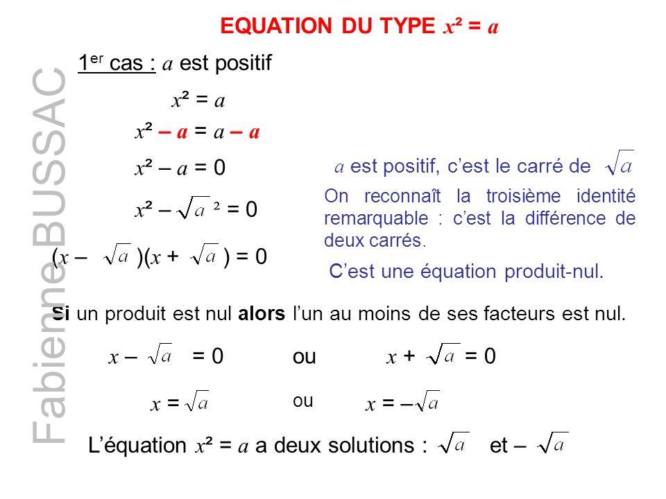 Fabienne BUSSAC EQUATION DU TYPE x² = a 1er cas : a est positif x² = a