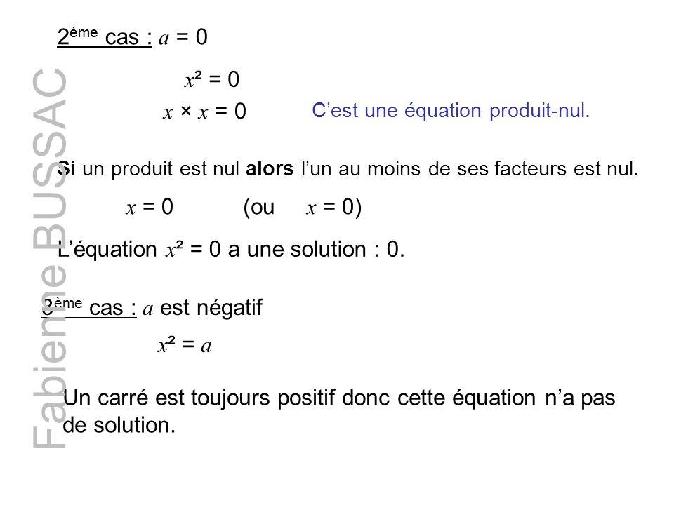 Fabienne BUSSAC 2ème cas : a = 0 x² = 0 x × x = 0 x = 0 (ou x = 0)