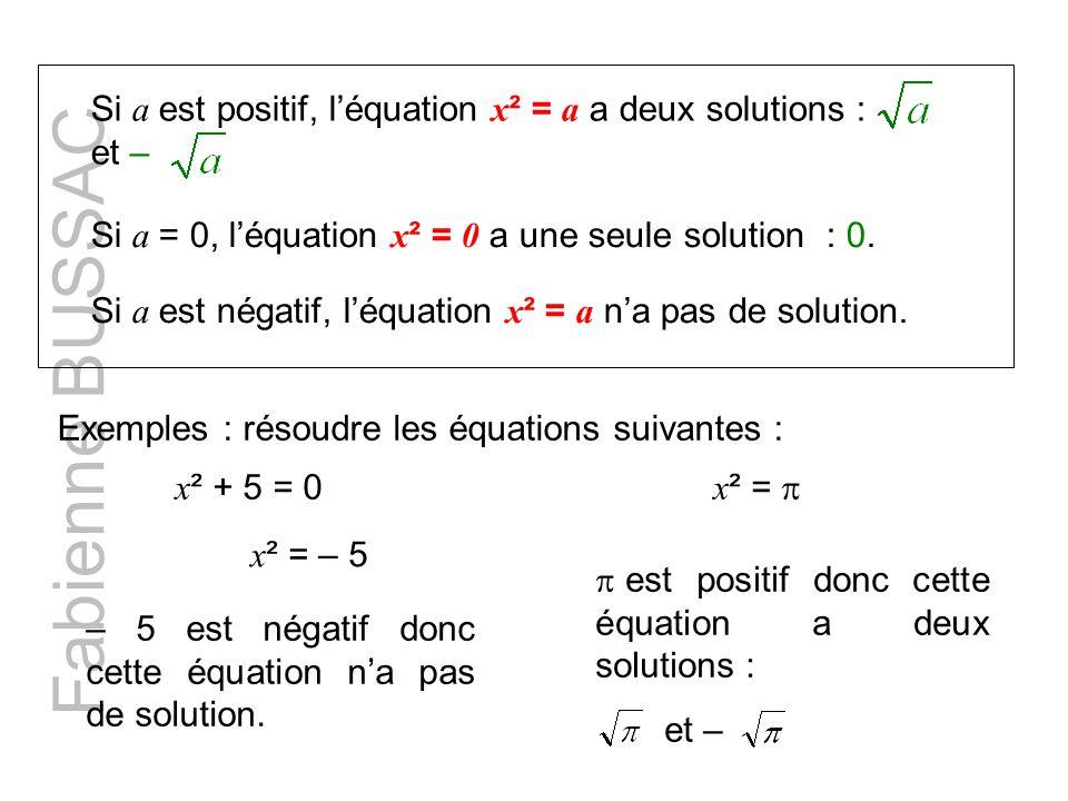 Si a est positif, l'équation x² = a a deux solutions : et –