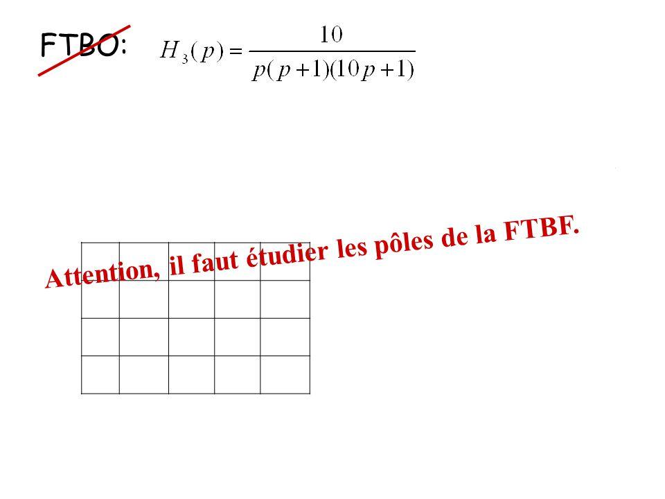 FTBO: FTBF: 1 3 Attention, il faut étudier les pôles de la FTBF.
