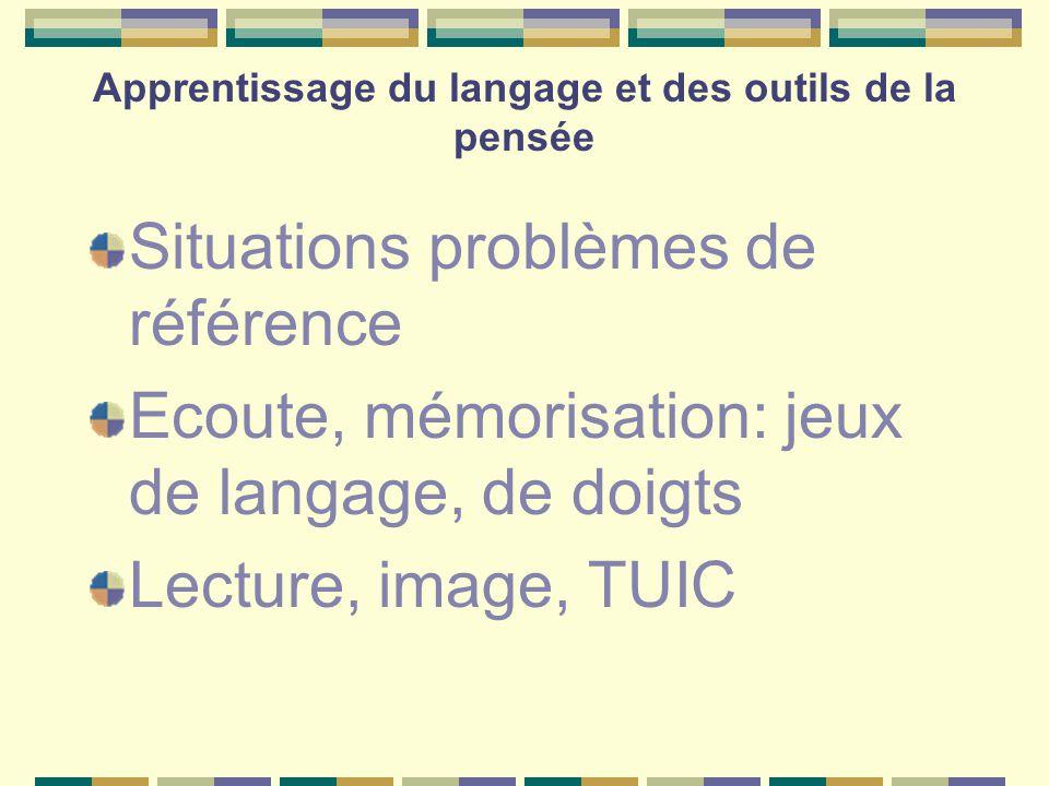 Apprentissage du langage et des outils de la pensée