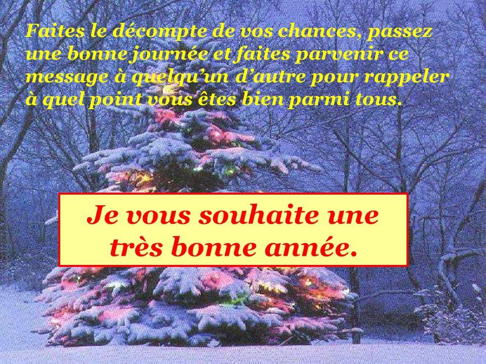 Je vous souhaite une très bonne année.