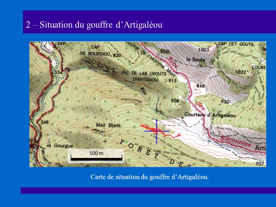 2 – Situation du gouffre d'Artigaléou