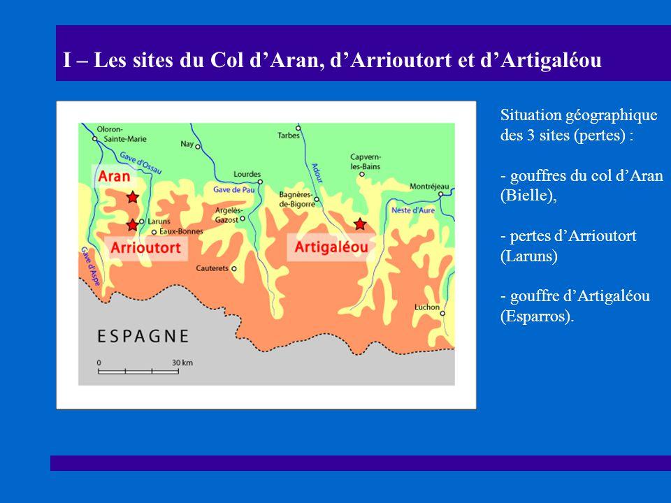 I – Les sites du Col d'Aran, d'Arrioutort et d'Artigaléou