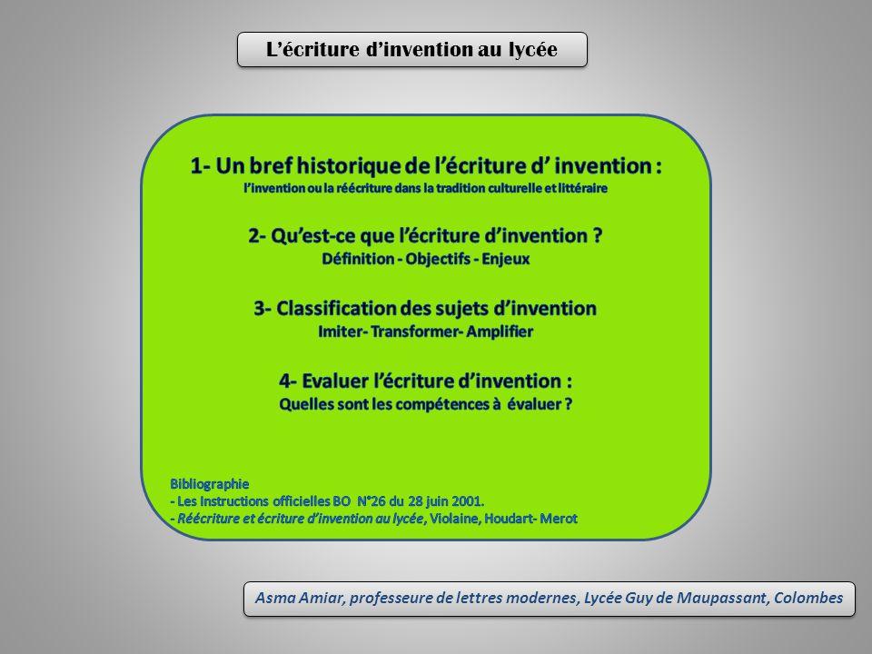 1- Un bref historique de l'écriture d' invention :