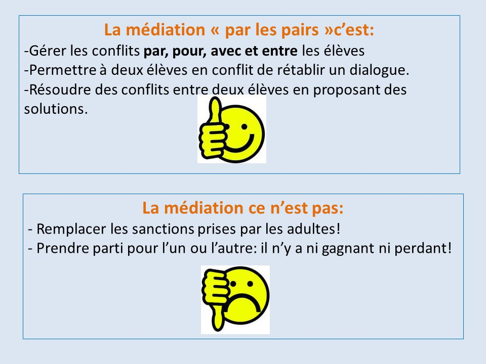 La médiation « par les pairs »c'est: La médiation ce n'est pas: