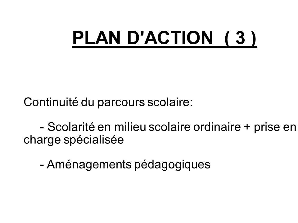 PLAN D ACTION ( 3 ) Continuité du parcours scolaire: