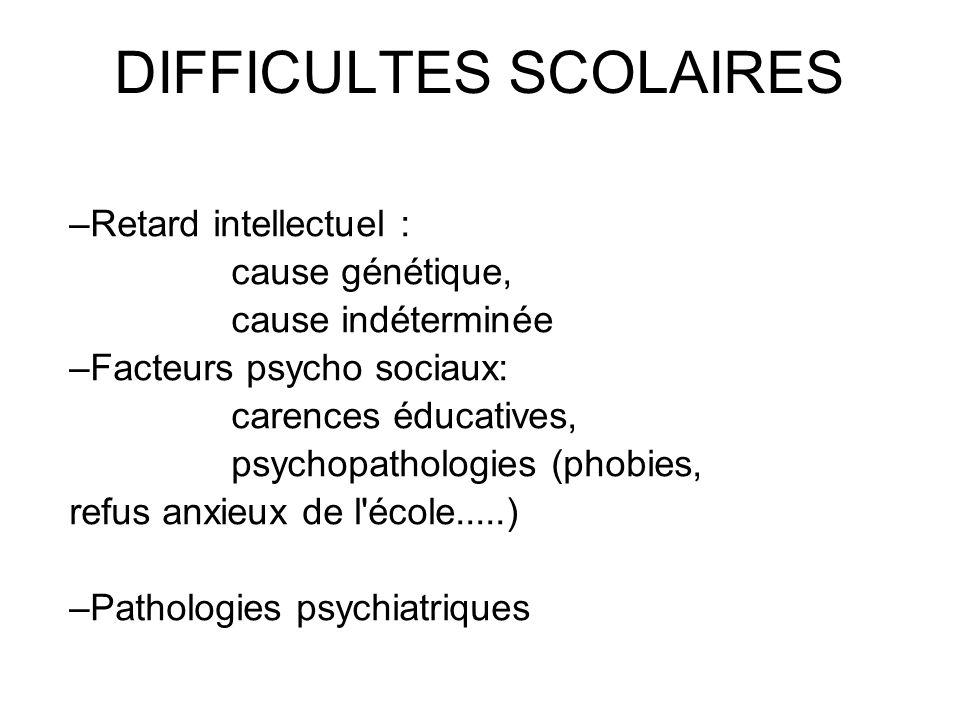 DIFFICULTES SCOLAIRES