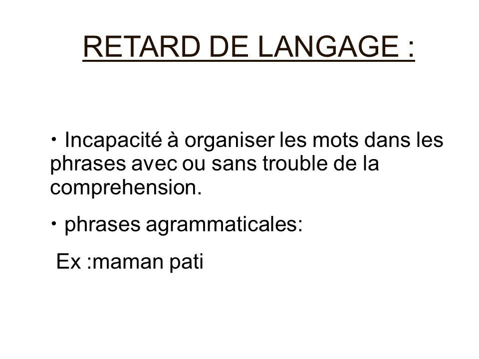 RETARD DE LANGAGE : Incapacité à organiser les mots dans les phrases avec ou sans trouble de la comprehension.
