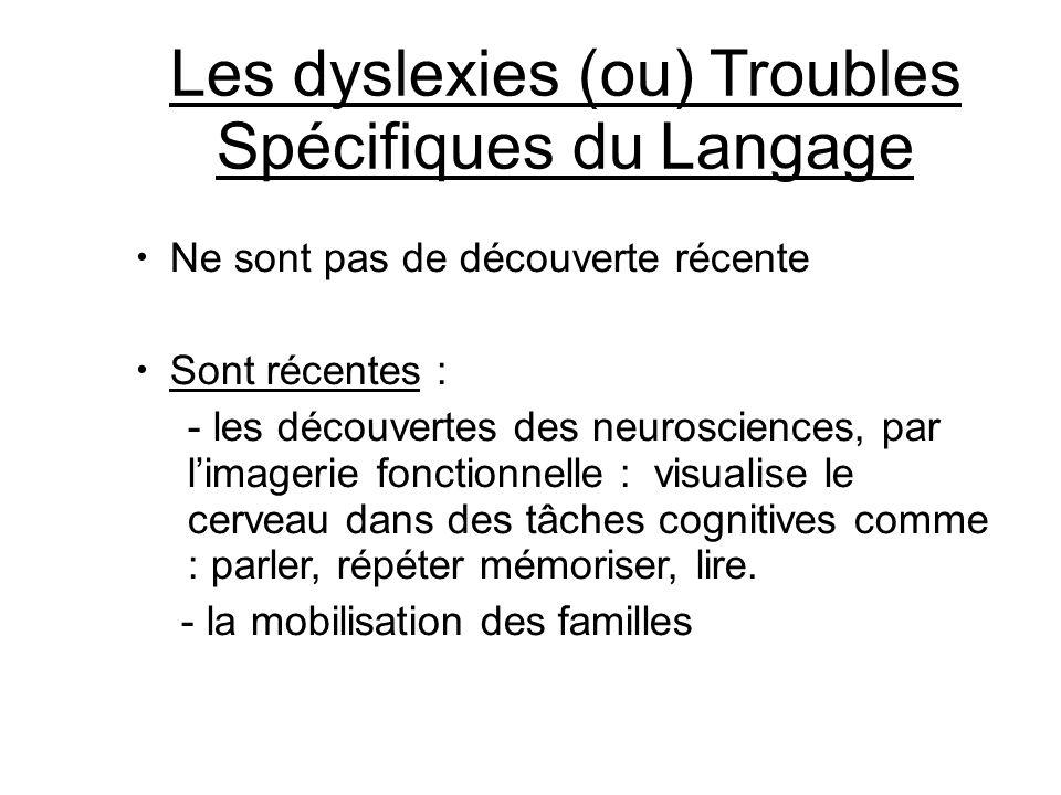 Les dyslexies (ou) Troubles Spécifiques du Langage