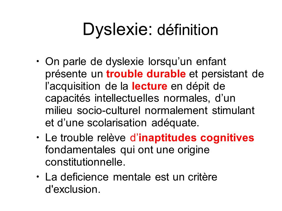 Dyslexie: définition