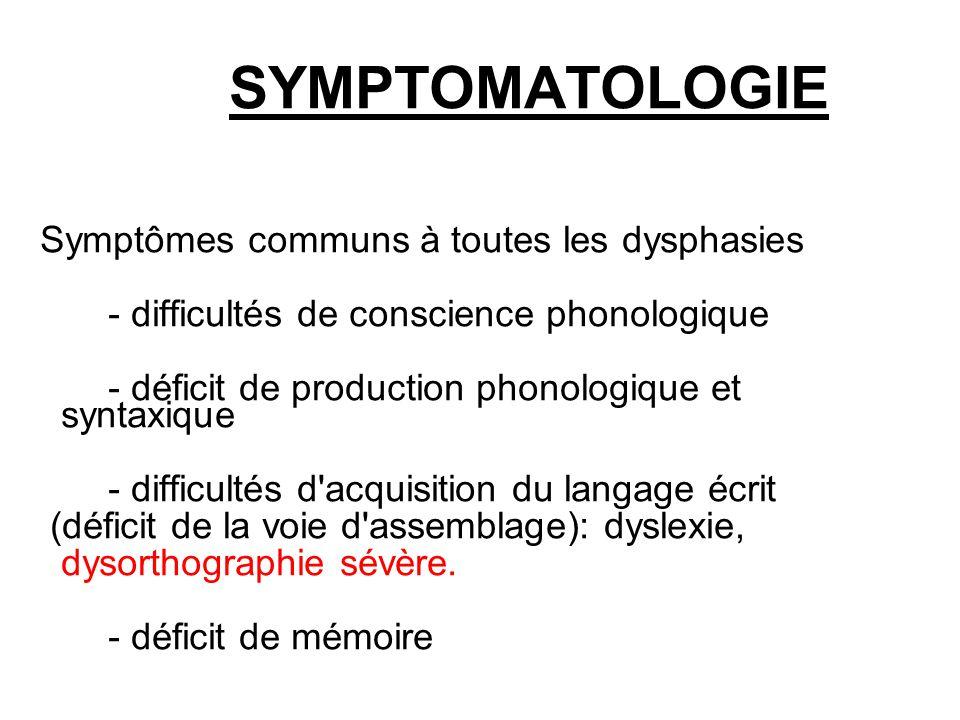 SYMPTOMATOLOGIE Symptômes communs à toutes les dysphasies