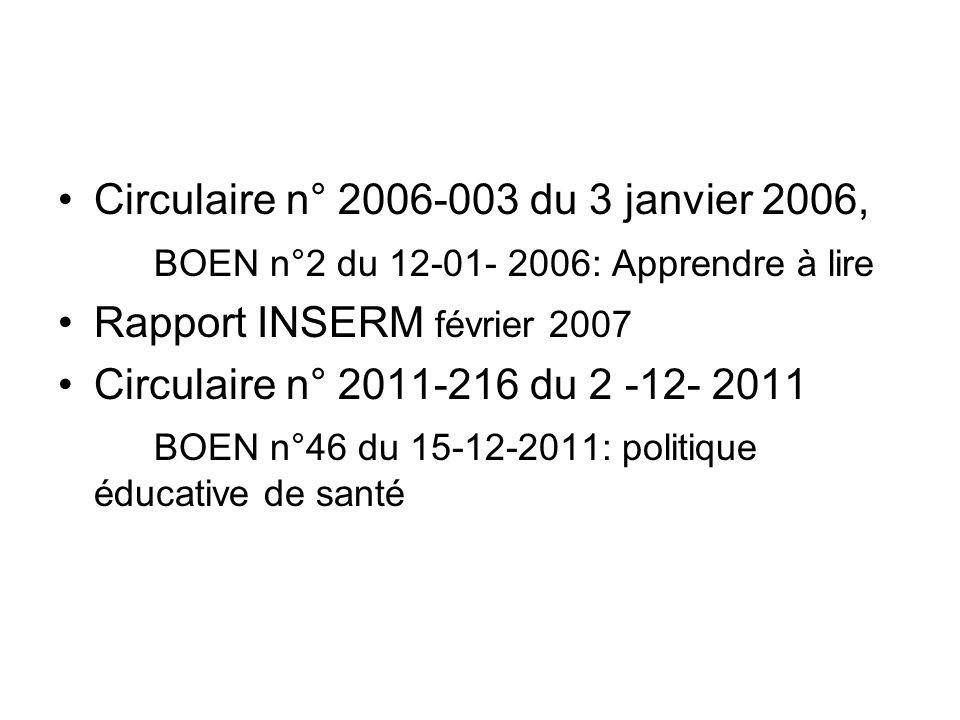 Circulaire n° 2006-003 du 3 janvier 2006,