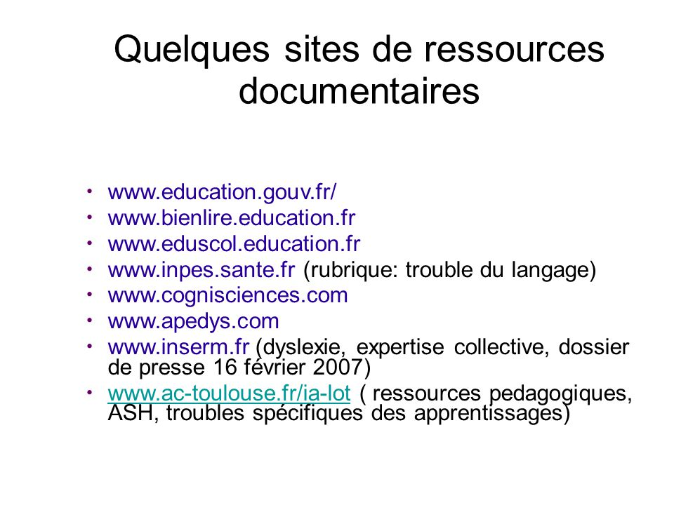 Quelques sites de ressources documentaires