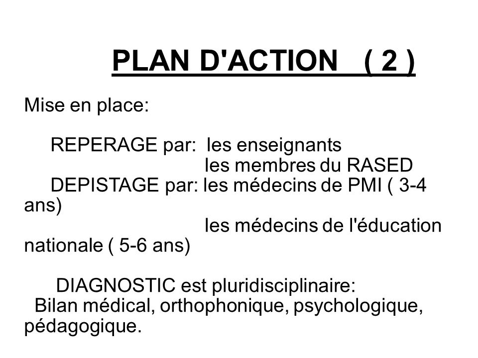 PLAN D ACTION ( 2 )‏ Mise en place: REPERAGE par: les enseignants