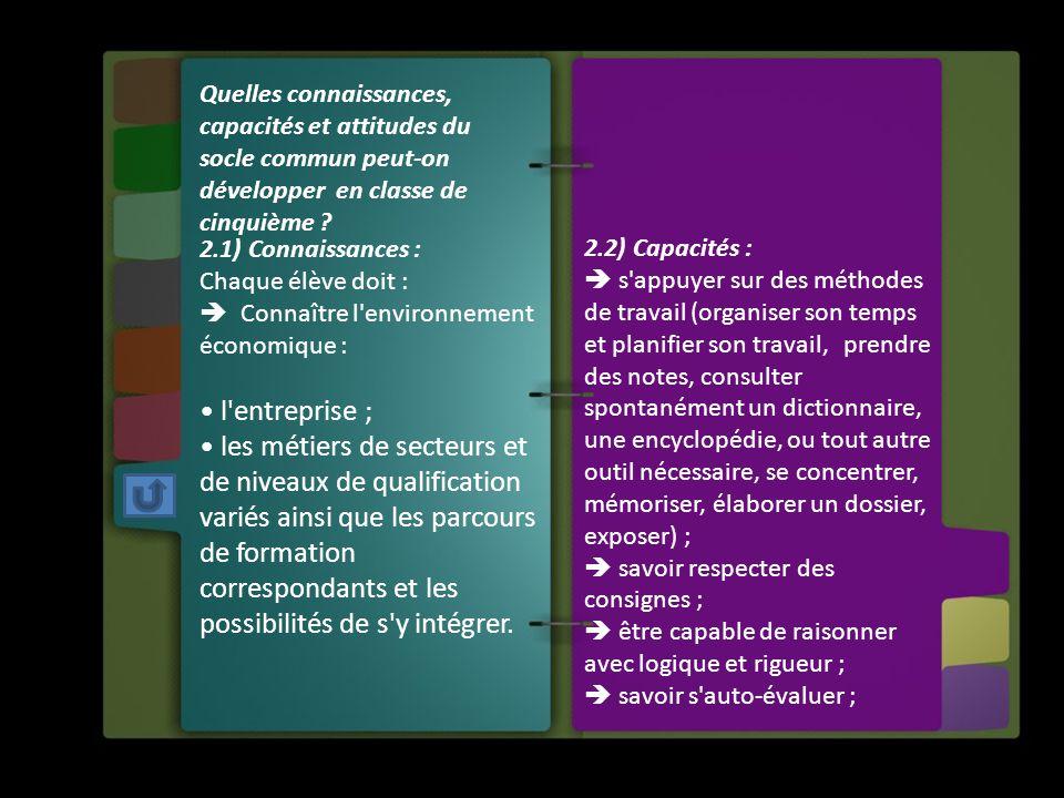 Quelles connaissances, capacités et attitudes du socle commun peut-on développer en classe de cinquième