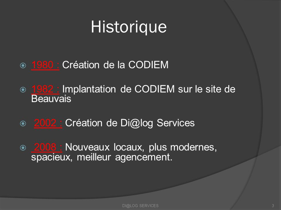Historique 1980 : Création de la CODIEM