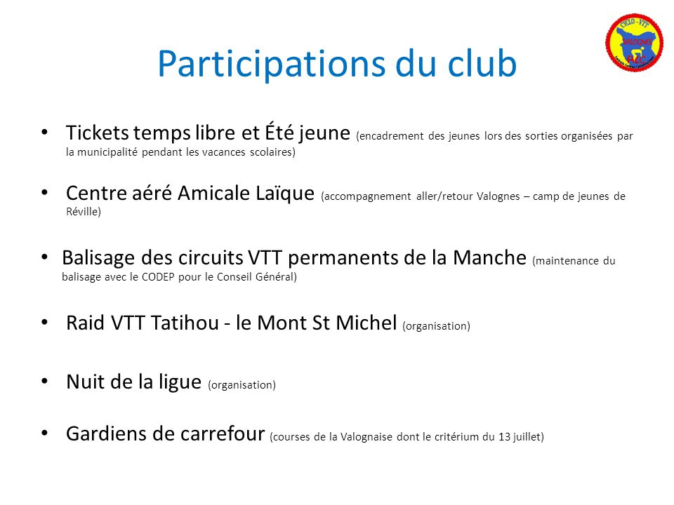 Participations du club