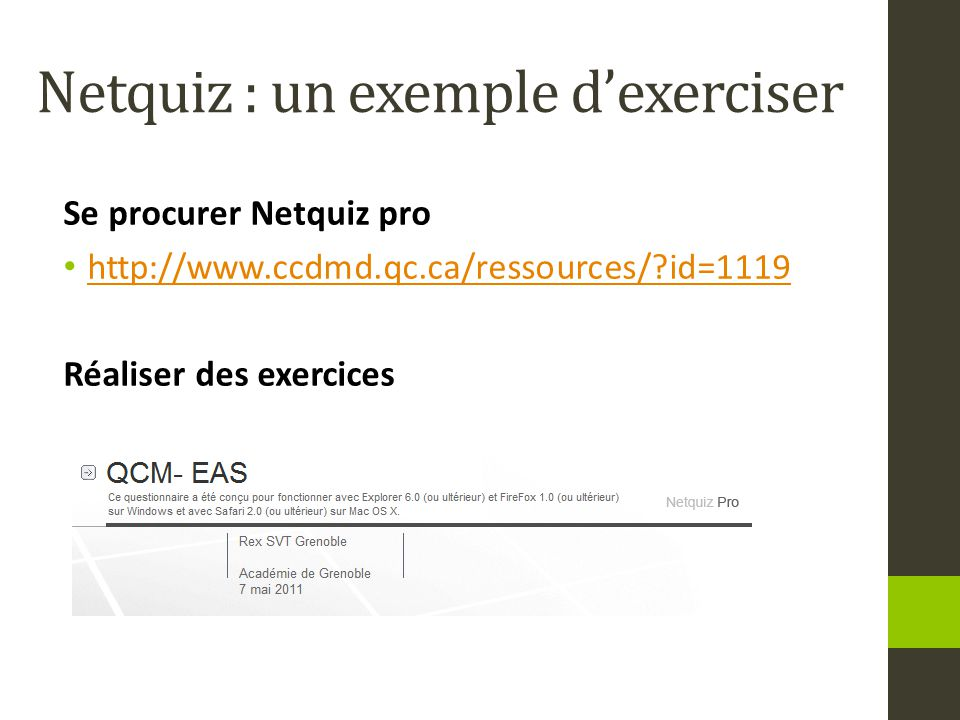 Netquiz : un exemple d'exerciser