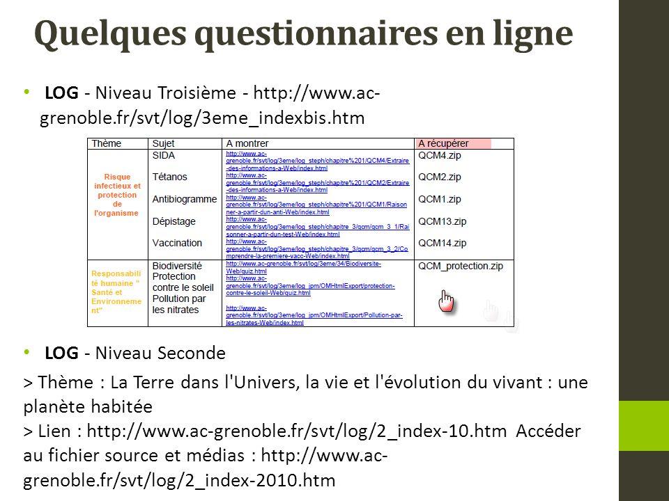 Quelques questionnaires en ligne