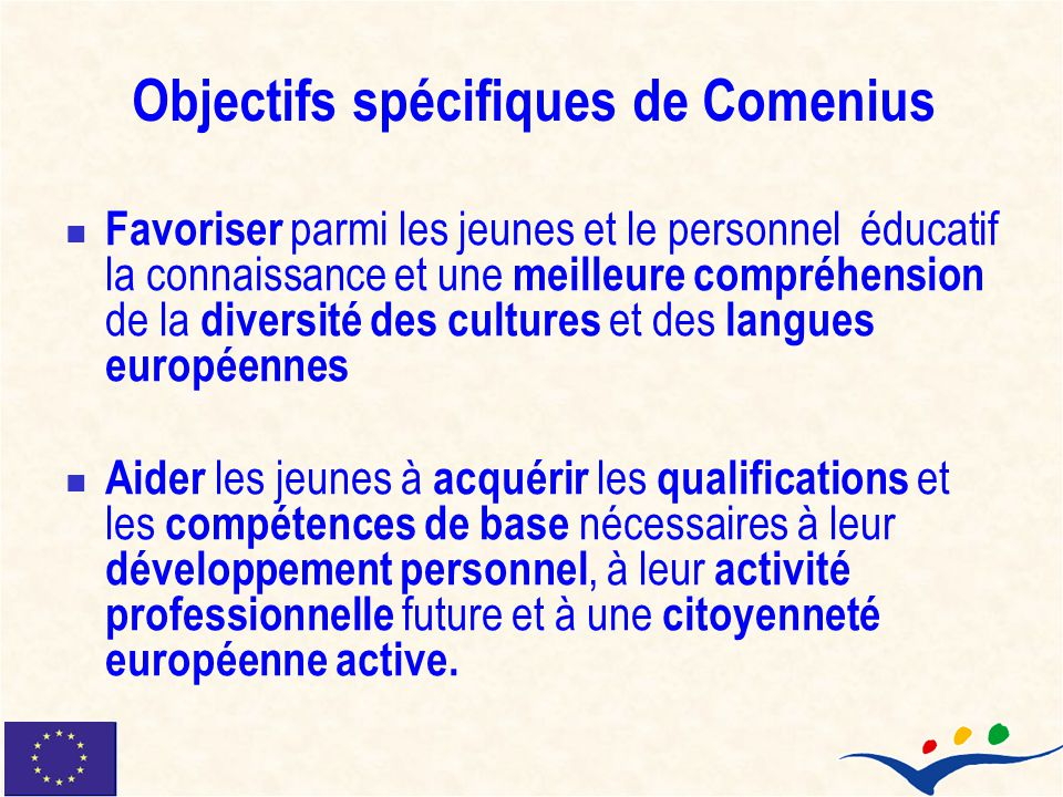 Objectifs spécifiques de Comenius