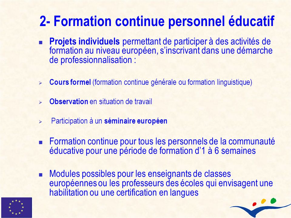 2- Formation continue personnel éducatif