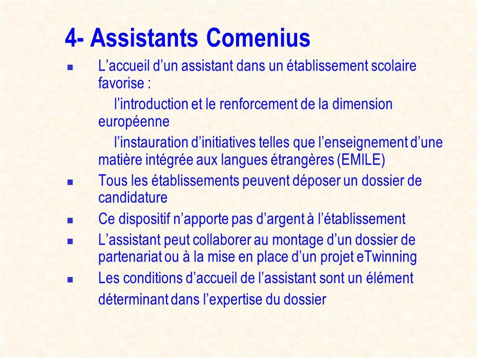 4- Assistants Comenius L'accueil d'un assistant dans un établissement scolaire favorise :