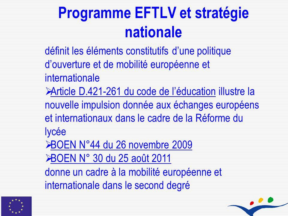 Programme EFTLV et stratégie nationale