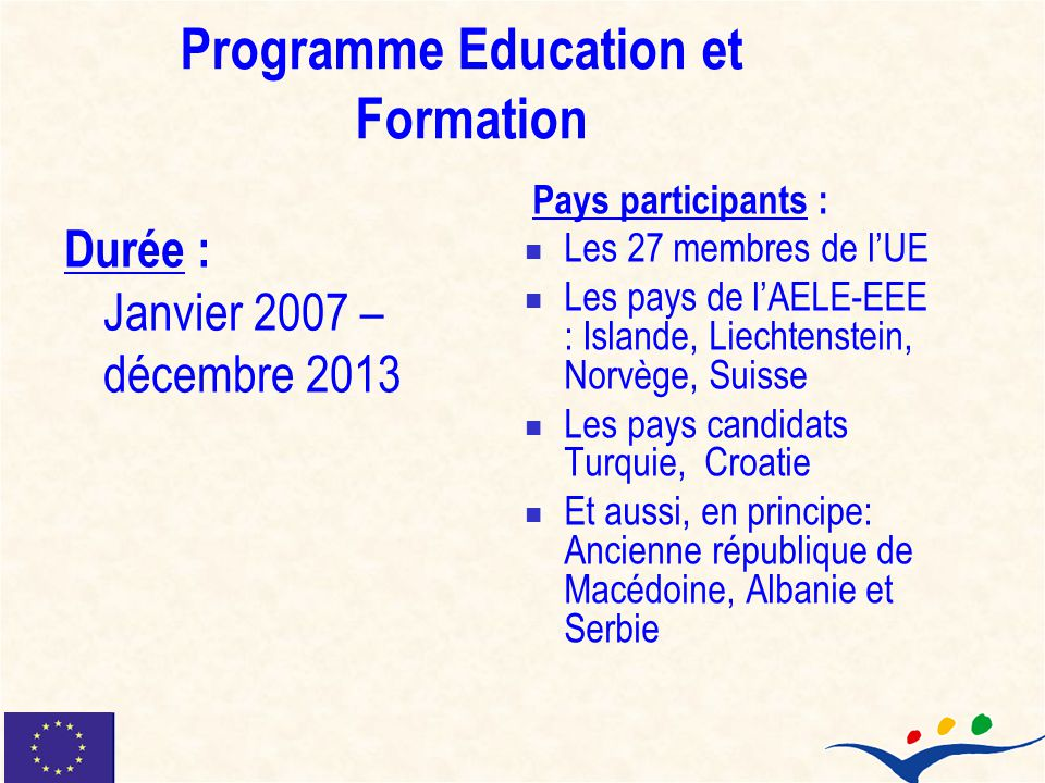 Programme Education et Formation