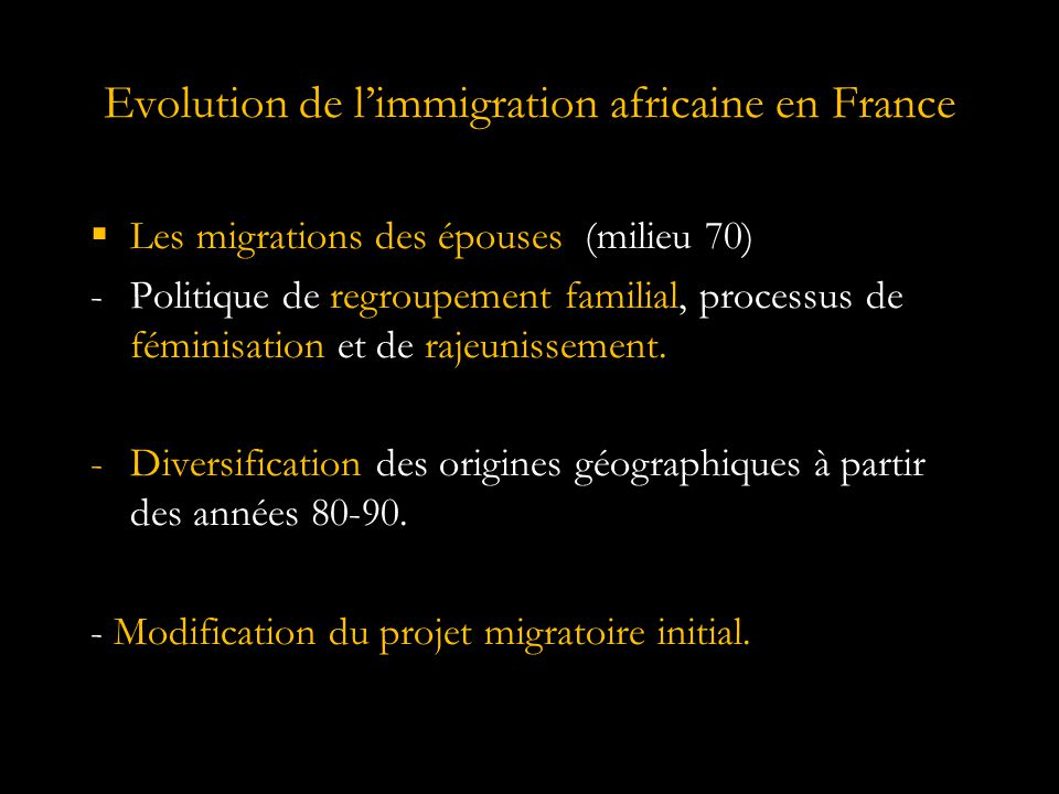 Evolution de l'immigration africaine en France