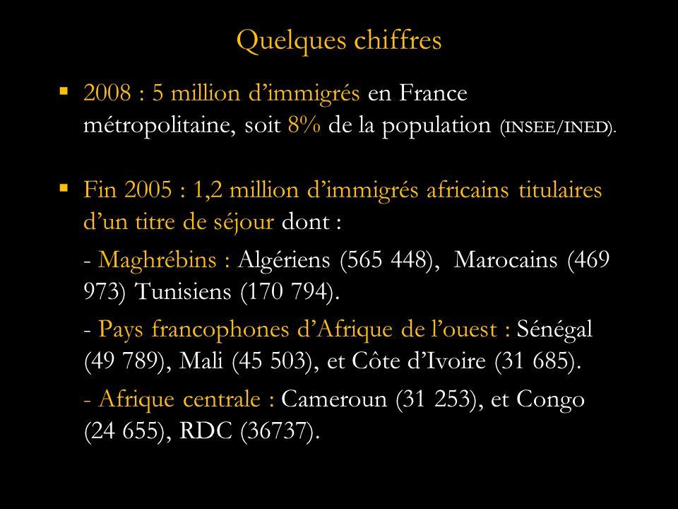 Quelques chiffres 2008 : 5 million d'immigrés en France métropolitaine, soit 8% de la population (INSEE/INED).