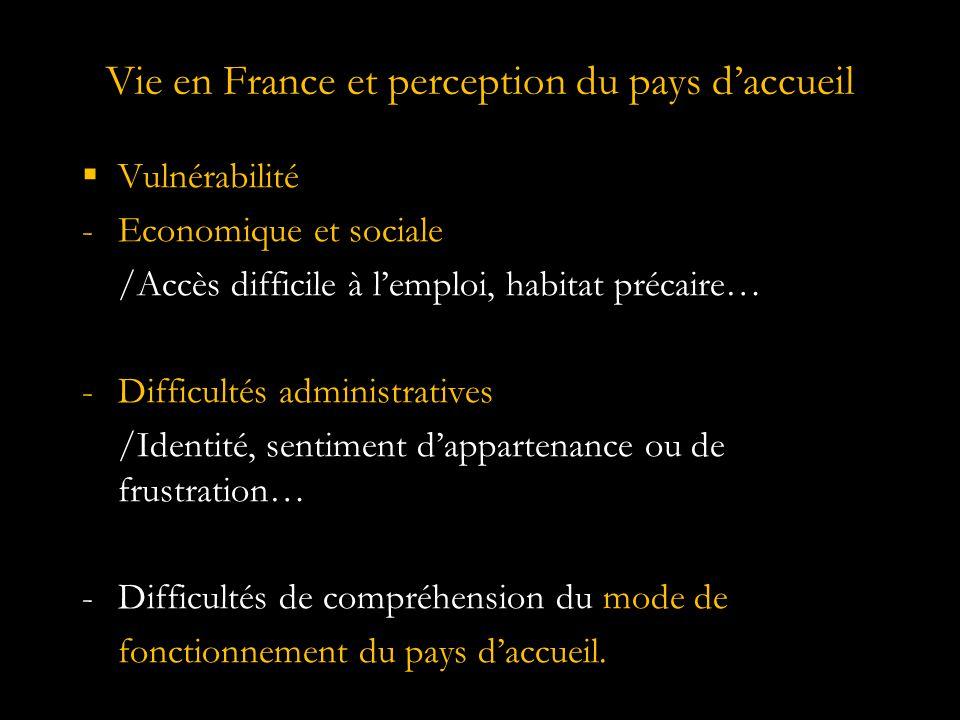 Vie en France et perception du pays d'accueil