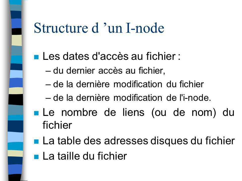Structure d 'un I-node Les dates d accès au fichier :