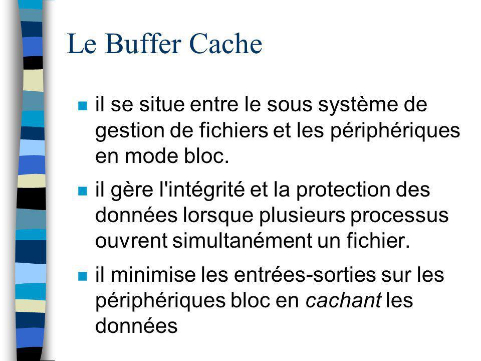 Le Buffer Cache il se situe entre le sous système de gestion de fichiers et les périphériques en mode bloc.