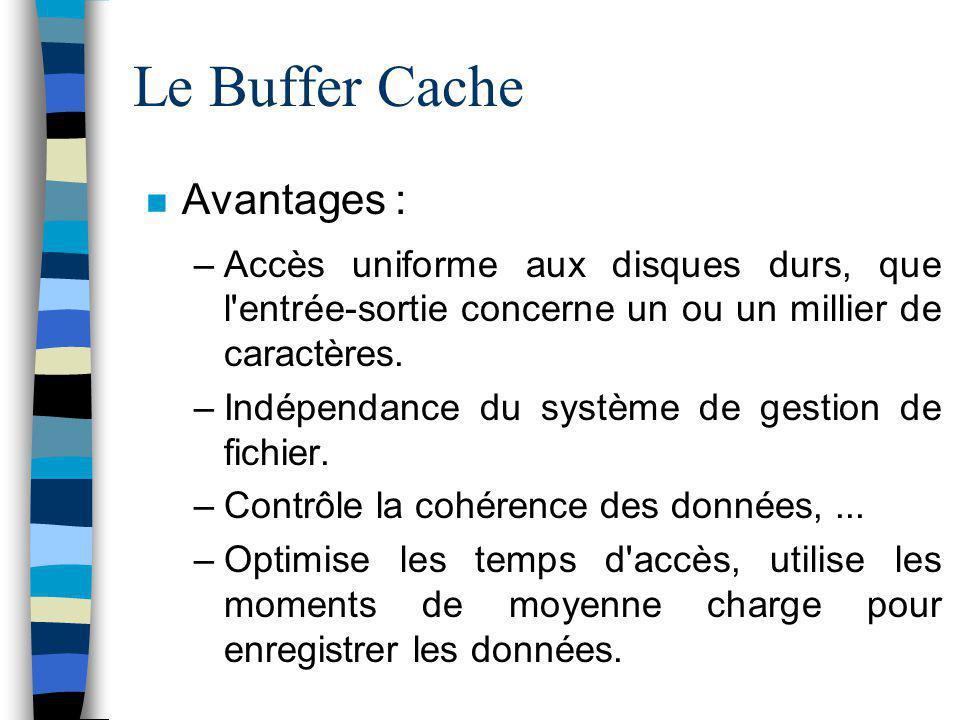 Le Buffer Cache Avantages :